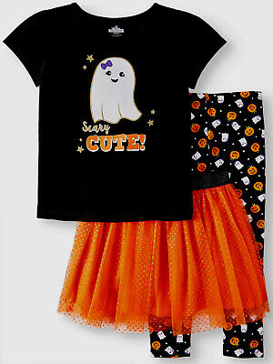 SCARY CUTE! 3-Piece Skirt/Leggings/Top Halloween Outfit Set Toddler Girls 3T NWT](Scary Halloween Outfit)