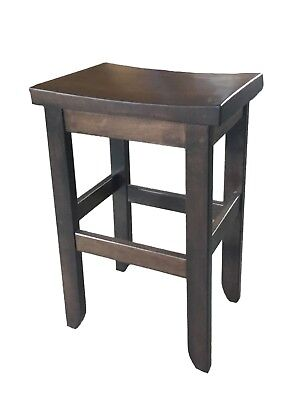 Brown Maple Oak Saddle Bar Stool - Dining Height - Kona Stain - Amish Made - Dining Room Maple Bar Stool