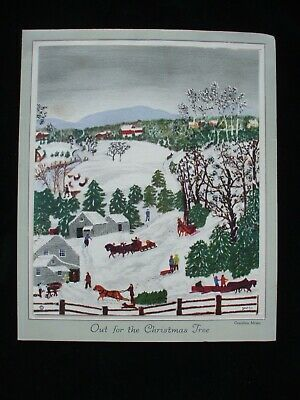 Vintage Christmas Card Grandma Moses Village Landscape California Artists Laid