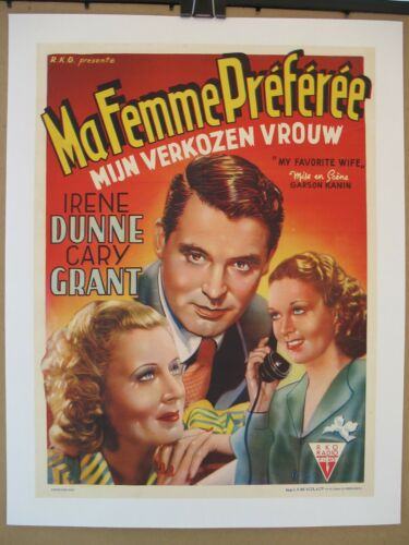 MY FAVORITE WIFE (1940) Original Release Belgian Poster on Linen, Grant, Dunne