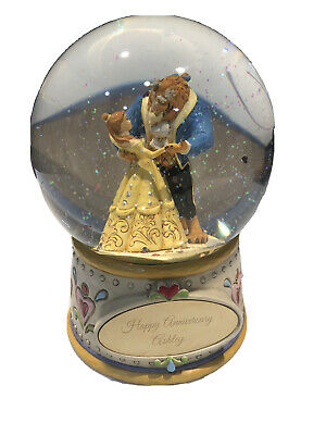 Rare Beauty and the Beast Snow Globe With Area For Customized Plate