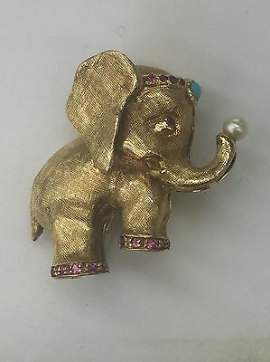 Estate 18k Solid Yellow Gold Elephant Brooch Or Charm Pendant