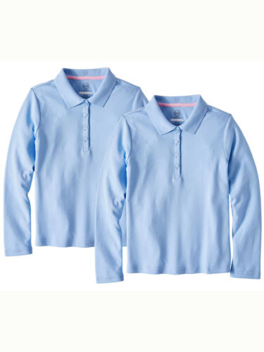 Wonder Nation Girls School Uniform Long Sleeve Interlock Polo, 2-Pack
