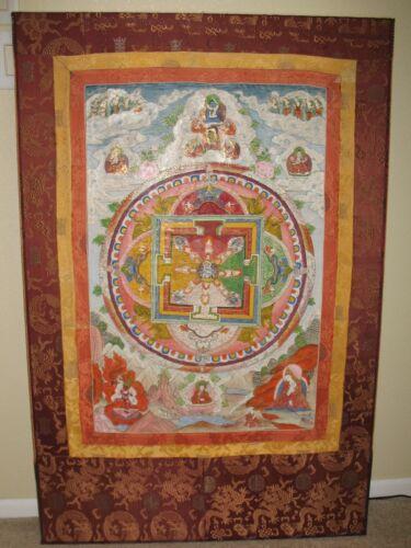 """Large 48""""x32"""" Antique Tibetan Thangka Mandala of Yama Dharmaraja c 1800"""