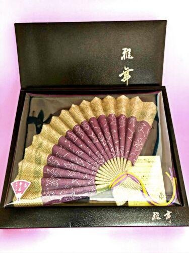 Cutey Cloth Fabric Folding Hand Fan Japan Vtg w/ Box Souvenir Gift Art Home deco