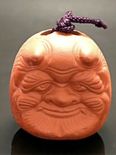 Japanese Clay Bell Dorei Oni Devil Demon Pottery Round Shrine Lucky Hanging Deco