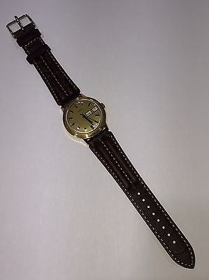 Vintage Timex Manual Wind Day Date Men's Gold Tone Watch