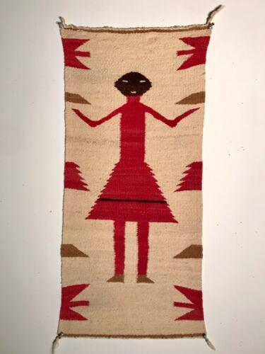 FASCINATING NAVAJO SINGLE FEMALE YEI FIGURE RUG, HANDSPUN, MINT CONDITION, C1930