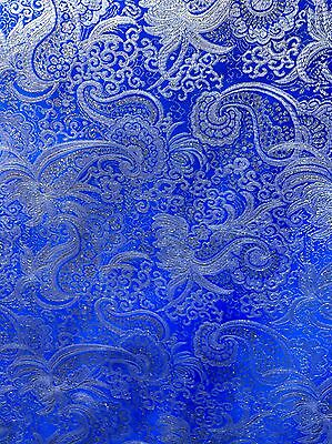 BLUE SILVER METALLIC PAISLEY BROCADE FABRIC (60 in.) Sold By The Yard (Metallic Blue)