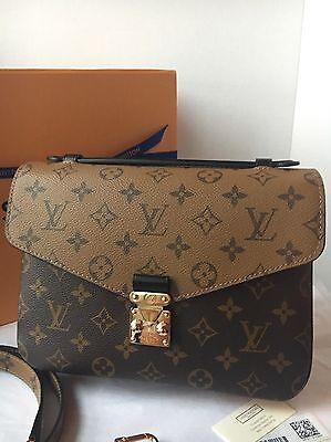 Auth BNIB Louis Vuitton Pochette Metis Reversed Monogram Bag