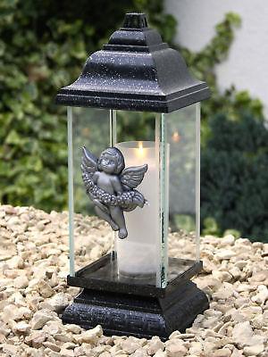 Grablaterne Grablampe Grableuchte Silber Engel Grabschmuck inkl. Grablicht Kerze