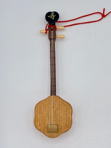 """Chinese Stringed Instrument Sanxian Wooden Display Ornament/Figurine 5 1/2"""" EUC"""