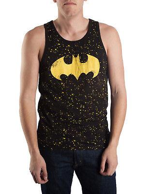 Batman Muscle Shirt (NEW Mens Licensed Batman Black Splatter Tank Top Muscle Shirt  Large Chest)