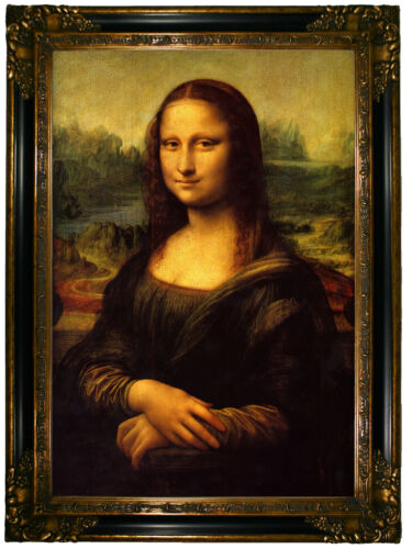 da Vinci Mona Lisa Wood Framed Canvas Print Repro 19x28