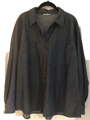 Eileen Fisher Woman 1x Denim Shirt 29 Long, 24 Armpit To Ap, 26 Across Hips