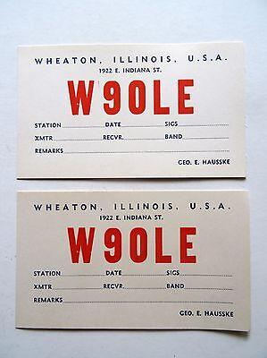 2 Ham Amateur Radio QSL Vintage Postcard Wheaton Illinois USA W90LE  Geo.Hausske