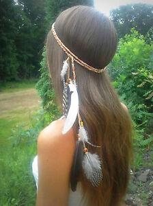 Women BOHO Syn suede Feather beads Braided Beach Hair head band Headband Prop