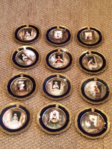 """Antique Rare Set - 12 Cobalt Blue & Gold Cabinet Portrait Plates Signed """"Picard"""""""