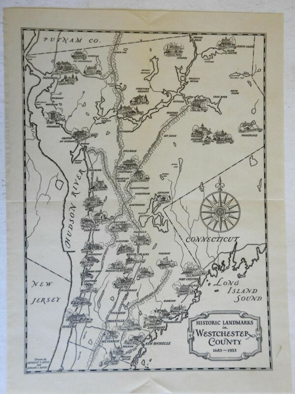 Westchester County New York Hudson River Tarrytown White Plains 1933 vintage map