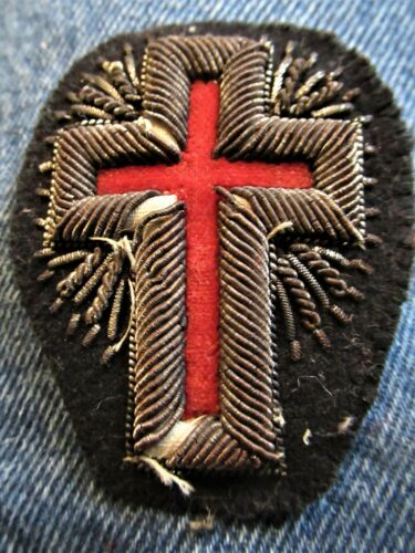 Beautiful Late 19 Century Knights Templar Velvet/Silk/Embroid 3 Dimension Patch