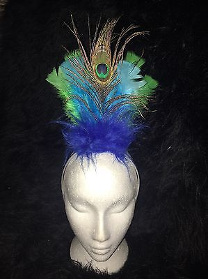 PEACOCK Fancy Dress Headress Feather Hairband Costume GREEN/BLUE KEVIN UP - Kevin Bird Costume