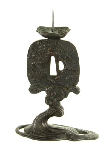 ^ Antique SIGNED Japanese Patinated Bronze ARCHAIC Tsuba-Form Candle Holder
