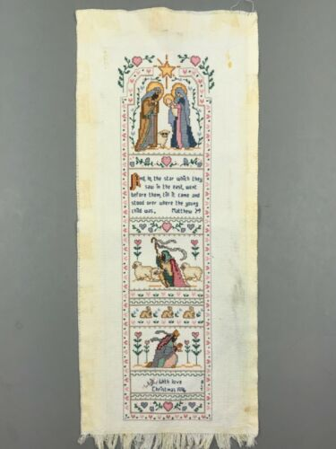 """Finished Cross Stitch Sampler Nativity Christmas Holiday Completed 19"""" x 4.75"""""""