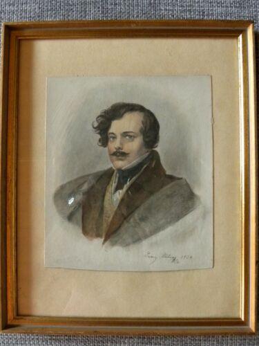 Franz Xaver Stöber, Selbstportrait, 1834, aquarellierter Stahlstich,schön gerahm