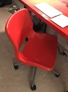 Red IKEA desk and chair