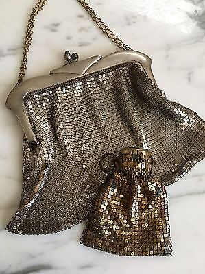 Lot of 2 Vintage 1920s Whiting & Davis Metal Mesh Bags: Handbag, Coin Purse