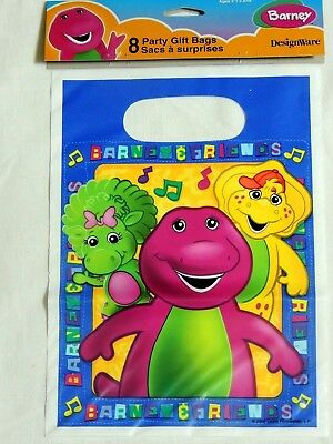 Barney Party Supplies (NEW  ~ BARNEY~     8-  PLASTIC LOOT BAGS- 9