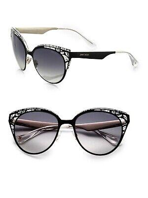 JIMMY CHOO ESTELLE Black Crystal Lace Grey Lens Cat Eye Sunglasses ESTELLE/S (Jimmy Choo Black Sunglasses)