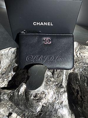 NWT CHANEL 2017 Black Caviar Small O-Case Pouch Card Holder Wallet Coin Purse
