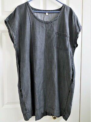 Eileen Fisher Tencel Organic Cotton Chambray Dress Gray Pockets Sz Large