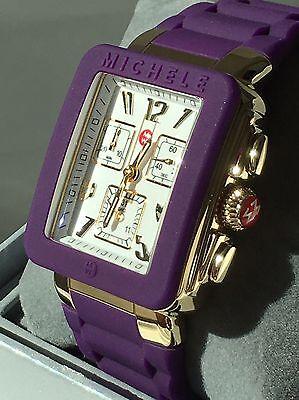 NWT MICHELE PARK JELLY BEAN PURPLE & GOLD CHRONOGRAPH WATCH MWW06L000020 $395