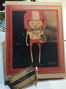 FOOTBALL on Wood--Hand-crafted