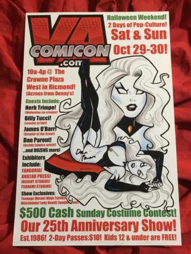VA COMIC CON 25th ANNIVERSARY SHOW POSTER~LADY DEATH~SIGNED BY DAN PARENT~B