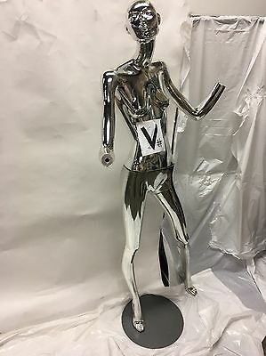 Fiberlass Mannequin - Shiny Silver No Hands V
