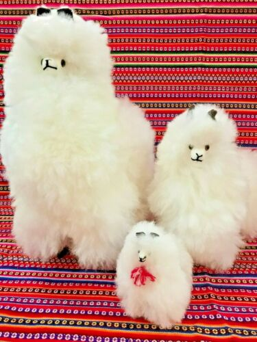 "3 New New Llamas 12"" 9"" & 4"" Toy Stuffed Real Alpaca Fur Soft Fluffy Andes Peru"