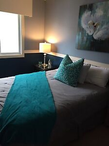Queen bed, night tables and electric fireplace