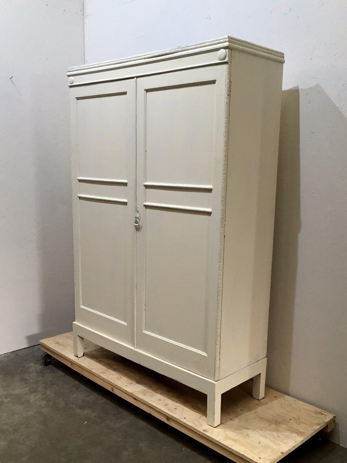 Vintage Oak Double Bachelors Wardrobe Painted White (29L)
