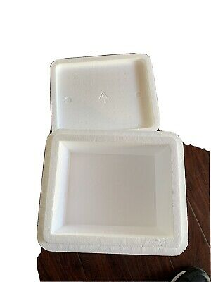 Styrofoam Container 13 X 9 X 11 Insulated Cooler Foam Box White Pre-used.