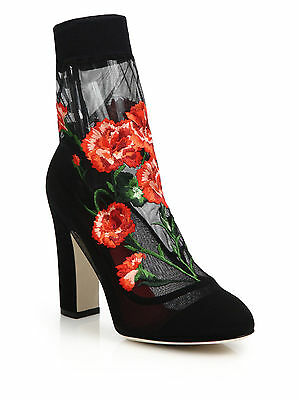 New DOLCE & GABBANA Carnation Floral Embroidered Tulle Mesh Sock Shoes Heels