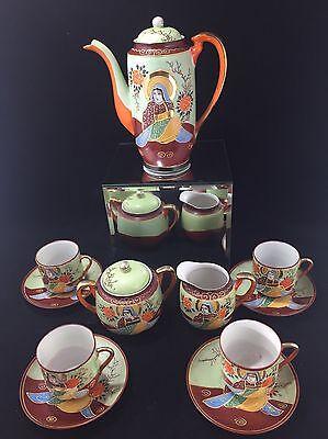 Antique Japanese Kutani Moriage Satsuma Eggshell Porcelain Tea Coffee Set C.1920
