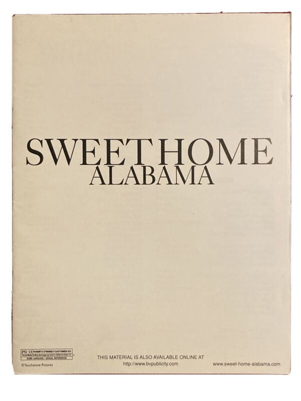 Sweet Home Alabama Production Notes 2002 Reese Witherspoon Josh Lucas 22 Pages