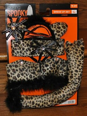 Cat Leopard Dress Up Tail Head Band Halloween Decoration Party Adult Costume NEW