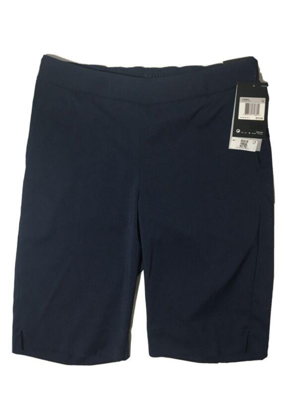 """Nike Dri-Fit Womens UV 11"""" Bermuda Golf Shorts Standard Fit Navy Blue Size (XS)"""