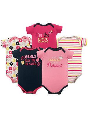 Luvable Friends Basics Baby Girl Print 5 Pack Bodysuit Set Size 0-3 Months