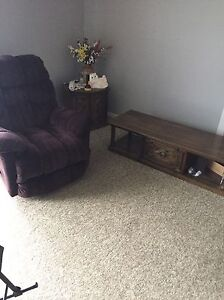 Recliner and coffee table and end table