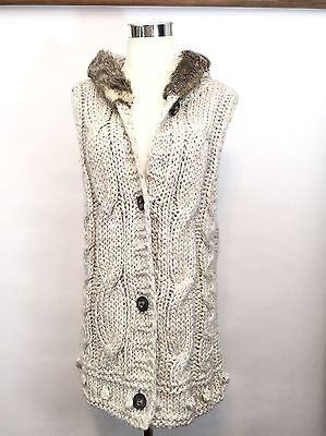 NATURAL REFLECTIONS (M) Faux Fur Chunky Cable Vest Sweater Women's Size M 8, -